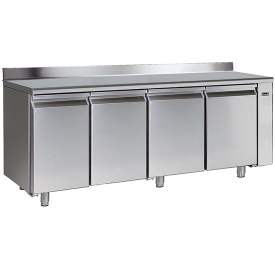 Refrigerated tables with splash-back and remote control, 700mm depth with HACCP alarm system