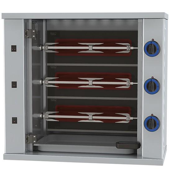 Electric up-right kitchen grill, wall type