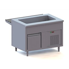Counters with refrigerated pan on refrigerated cupboard