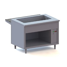 Bain marie counters on open support