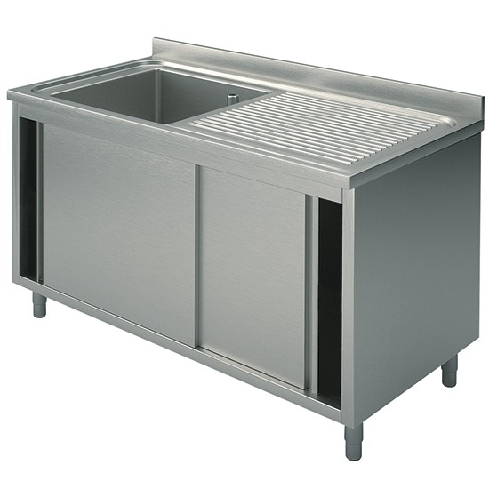 1 bowl, on cabinet with sliding doors, right drainer, 70 cm. depth