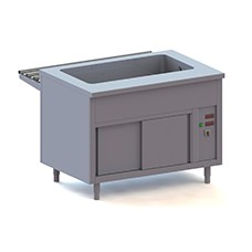 Bain marie counters on heated cupboard