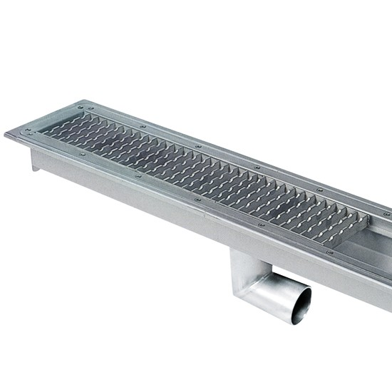 Floor gutter with grating and side discharge