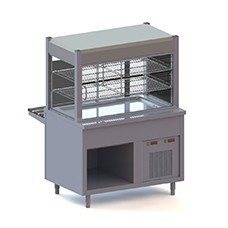Refrigerated counters with refrigerated top on open support