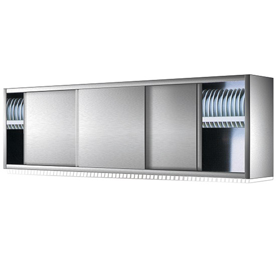 Wall cabinet with sliding door and dish drainer