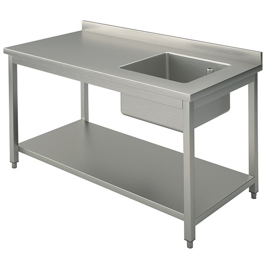 Working table with undershelf and right sink 70cm depth