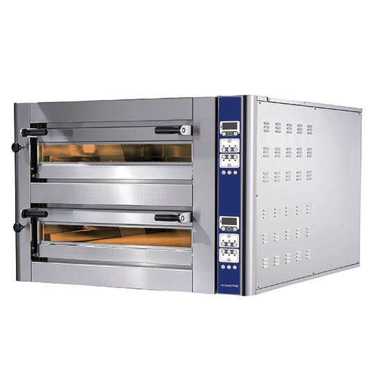 Two-chamber Donatello electric pizza oven with programmable digital control baking system