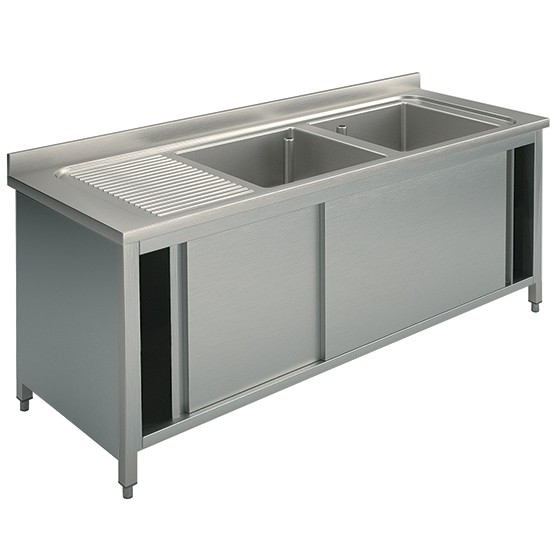2 bowls, on cabinet with sliding doors, left drainer, 70 cm. depth