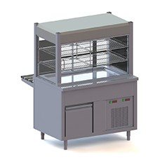 Refrigerated counters with refrigerated pans on refrigerated cupboard