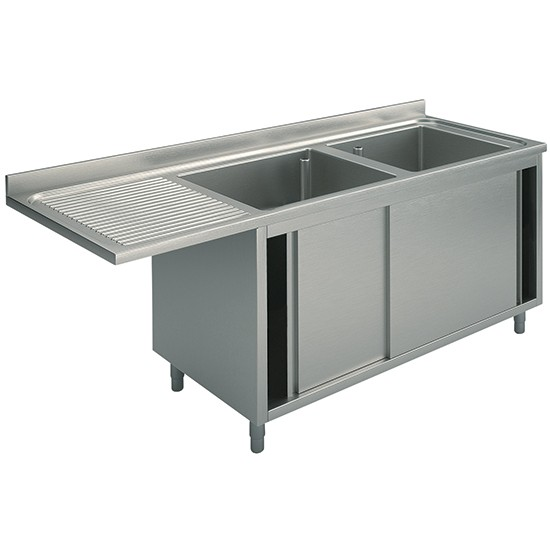 Sink on cabinet sliding doors for built-in dishwasher, 2 bowls left drainer 70cm depth