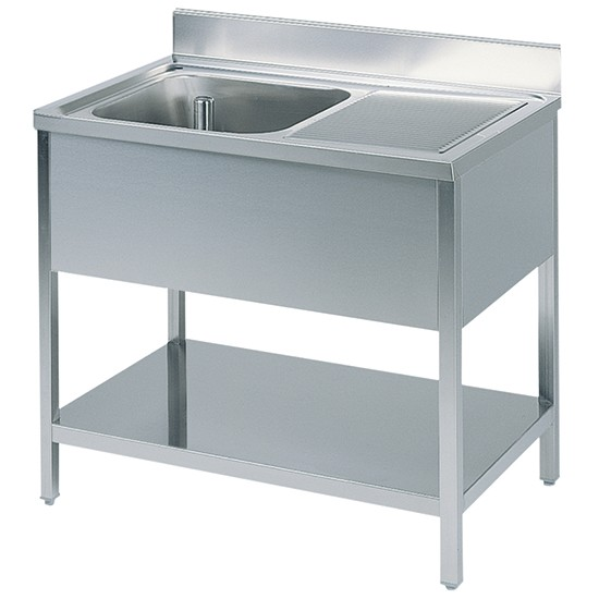 Working table with undershelf and left sink 70cm depth