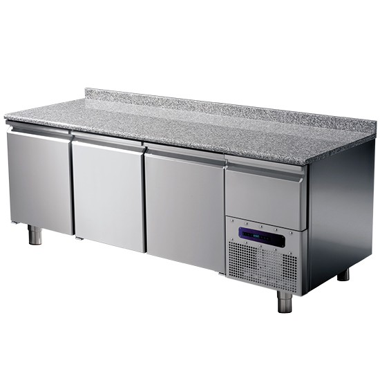 Refrigerated pastry table with granite working top and splash-back